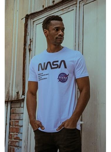 XHAN Beyaz Baskılı & Işlemeli T-Shirt 1Kxe1-44583-01 Beyaz